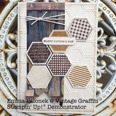 Stampin' Up! Fathers Day card using brown tones, Six Sided Sampler & Hexagon Punch Created by Emma Palonek at Vintage Graffiti Handmade Boutique - Independent Stampin' Up! Demonstrator www.facebook.com/vintagegraffiti