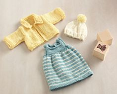 Perfect for an 18-inch doll, such as an American Girl or Springfield Collection Doll, this springy outfit is perfect for a party and more. (Lion Brand Yarn)