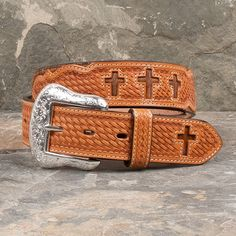 Men's Strong Faith Tooled Cross Belt