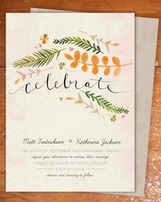 Illustrated wedding invite by Minted