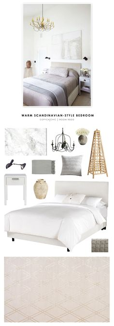 A warm Scandinavian contemporary bedroom featured in Lonny Magazine and recreated for less by @copycatchic | Room Redo looks for less budget home decor by @audreycdyer