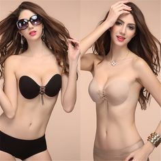f3663e6cda Women Silicone Bra Invisible Push Up Stick On Self Adhesive Front Lacing Bras  Strapless Lingerie Cup