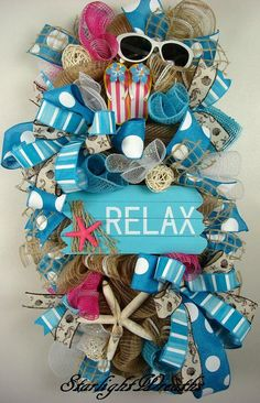 Relax Mesh Swag Wreath Beach Mesh Swag Wreath Beachy Decor. Sharing a wreath by Starlight Wreaths #trendytree #wreathmaking #beachwreath *affiliate link