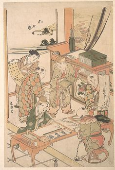 Katsushika Hokusai (Japanese, 1760–1849). Chinese Boys Learning to Write and Paint, ca. 1785. The Metropolitan Museum of Art, New York. The Francis Lathrop Collection, Purchase, Frederick C. Hewitt Fund, 1911 (JP743)