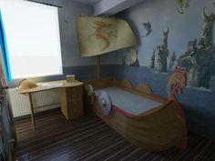 Viking hajóágy a gyerekszoba éke. A falakon vikinges falfestés. Kid's bed and desk.