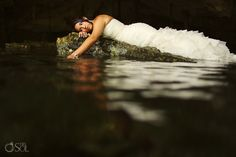 Riviera Maya Photography Cenote Trash the Dress session, elegance!  Mexico wedding photographers Del Sol Photography
