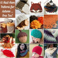 "Patterns for Autumn - Today I have rounded up my ""must have"" picks for Autumn! Click here to see them all and get the free patterns. Whether you want to crochet up some cute Thanksgiving decor or just want some pretty accessories to keep you cozy, there is definitely something for everyone ... I am sure you will find some great ideas for holiday gifts too!"