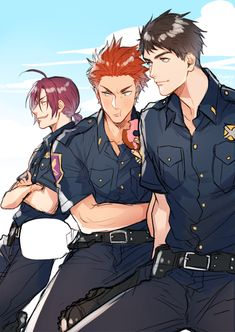 The cops are here! ...  Free! - Iwatobi Swim Club,  free!, iwatobi, rin matsuoka, matsuoka, rin, sosuke, sosuke yamazaki, yamazaki, sosouke, sosouke yamazaki, cop, seijuro mikoshiba, seijuro, mikoshiba