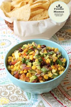 Corn Avocado and Black Bean Salsa. This corn avocado and black bean salsa is a fiesta in your mouth! It's easy to make fresh and perfect as a dip or condiment. Black Bean Salsa, Black Beans, Mexican Food Recipes, Vegan Recipes, Ethnic Recipes, Thyme Recipes, Avocado Recipes, Top Recipes, Mexican Dishes