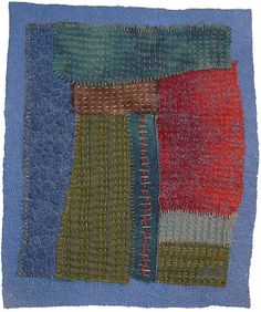 Janice Gunner - Remnants 7. Linen and cotton dyed-fabrics, needle-felted on to indigo-dyed cotton wadding, hand and machine-embroidered and quilted.