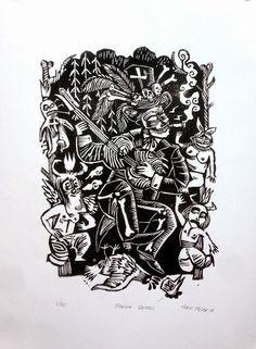 Marie Meier, illustratrice et imprimeuse: GRAVURE: Baron Samedi Fine Art, Oriental Art, Relief Print, Linocut, Black White Art, Lithograph, Woodcut, Prints, Baron Samedi