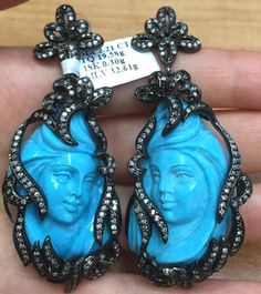 Hand Carved Natural Turquoise earrings, Blue Turquoise and diamonds earrings, Red Carpet Earrings, Handmade Bohemian earrings, ART earrings by BridalRings on Etsy https://www.etsy.com/listing/472952313/hand-carved-natural-turquoise-earrings