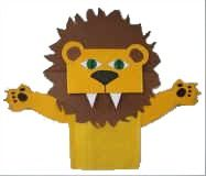 paper bag craft - I like the idea of using orange strips of construction paper curled for the mane.