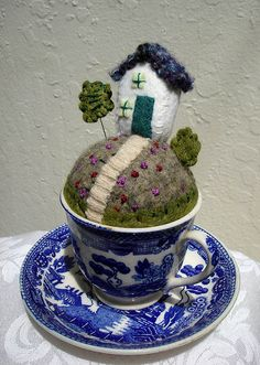 Why stop at a teacup: Pin cushion fruit bowl, pin cushion gravy boat, pin cushion punch bowl...