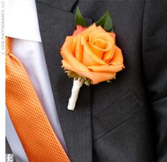 Boutonniere option. Single orange rose boutonniere