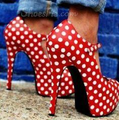 Glamous Polka Dot Platform Stiletto Heels Ankle Straps