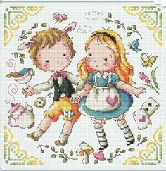 """Alice & a clock rabbit"" counted cross stitch chart(pattern Leaflet. - Manufactured in Korea. Cross Stitching, Cross Stitch Embroidery, Embroidery Patterns, Cross Stitch Patterns, Peter Rabbit Books, Alice In Wonderland Theme, Cross Stitch Baby, Chart Design, Needlepoint"