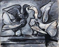 Pablo Picasso, dos palomas con las alas extendidas, Marzo 16-19, 1960. Óleo sobre lienzo, 23 x 28 9/16 3/4 pulgadas (59,7 x 73 cm)