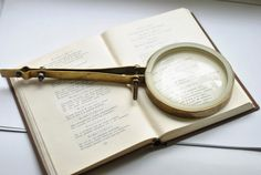 Antique Magnifying Glass, VINTAGE Brass Magnifying Glass