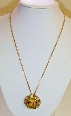 942~Vintage Signed Avon Gold Tone Green Rhinestone Circle Hearts Pendant Brooch  #Avon #Pendant