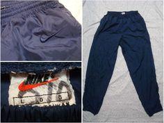 f5b018d3b60979 Vintage Men s 90 s Nike Pants Blue Nylon Windbreaker Warmup Large by  GentlyUsedGoods on Etsy Nike Windbreakers