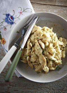 Ταλιατέλες με κοτόπουλο και σάλτσα μουστάρδας Cookbook Recipes, Cooking Recipes, Greek Recipes, Pasta Salad, Risotto, Macaroni And Cheese, Chicken Recipes, Dishes, Ethnic Recipes