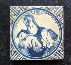 Antique RARE Dutch Delft Tile Horse ''Rotterdammer'' Wan Li Circa 1625 | eBay
