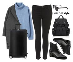 """Wanderlust Wonderful: Airport Style"" by vany-alvarado ❤ liked on Polyvore featuring Topshop, rag & bone, Rimowa, Burberry, Yves Saint Laurent and airportstyle"