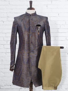 Shop Terry rayon mens printed grey wedding wear indo western online from G3fashion India. Brand - G3, Product code - G3-MIW0472, Price - 9995, Color - Grey, Fabric - Terry Rayon,