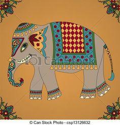 Buy Indian Elephant by Sveta_Aho on GraphicRiver. Background with indian elephant. Vector illustration, fully editable, vector objects separated and grouped. Indian Elephant Art, Elephant Images, Elephant Design, Indian Art, Elephant Drawings, Madhubani Art, Madhubani Painting, Elefante Hindu, Elephant Poster