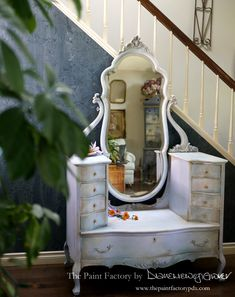 This item is unavailable Refinished Vanity, French Vanity, Wise Owl, Beveled Mirror, Wisteria, Dark Wood, French Antiques, Painted Furniture, Victorian