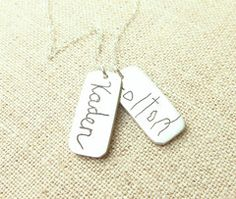 I want this!  Actual Handwriting 2 Rectangle Necklace