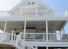 Love this big wrap around deck! Exterior Design, Interior And Exterior, Landscaping Around Deck, Porch Windows, Wrap Around Deck, House Landscape, Decks And Porches, House Built, Beach House Decor