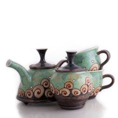 "FREE SHIPPING on the set. Details and Dimensions 2 Tea cups : W 3.5"" x H 3.2"" Mini Teapot : W 6"" x H 4"" - Sugar bowl : W 3.5"" x H 4"" - Wheel- thrown stoneware clay body; Clay has natural heat-retentio"