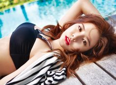 SNSD Sunny in sexy in Bali for SURE .For the occasion, the Member of the Girls' Generation flew under the Sun of Bali where she is both sexy and feminine. Sooyoung, Seohyun, Girls Generation Sunny, Sunny Snsd, Yuri, Hot Girls, Red Bikini, Girl Bands, Beautiful Asian Girls