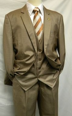 Falcone Mens Lucky Vest Taupe Houndstooth 1920s Style Suit 5100-078
