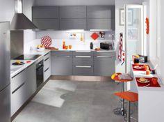 ide de cuisine grise et blanche touches de couleur disposition - Veddinge Gris