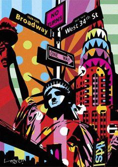 Poster para imprimir pop art - pontos turísticos. … Mais