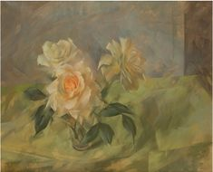 #Leonard #Appelbee #Yellow #Roses 1962  Signed and dated  #OilonCanvas #oilpainting #painting #art #flowers #floral #Britishart #modern #modernart #llfa