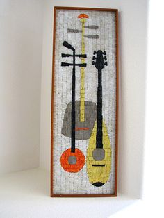 Mid Century Modern Abstract Mosaic Wall Hanging Art 1960s Madmen Panton Eames | eBay