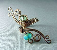 Wire Wrapped Ring Adjustable Ring Copper Ring Wire Wrapped Jewelry Copper and Turquoise. $18.00, via Etsy.