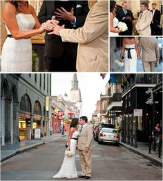 This couple uses the historic French Quarter as an eclectic background for their wedding photos!