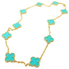 Alhambra Turquoise and Gold Necklace, Van Cleef & Arpels-every lady needs a piece of Van Cleef Alhambra in her lifetime...