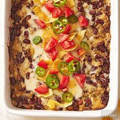 Ready for a fully-loaded casserole recipe? Try this vegetarian red bean and cheese one-pan meal. Chili peppers pack a punch, so if you like spicy dishes, this is one for you!