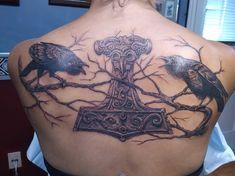 """""""Huginn, Muninn and Mjolnir - By Jamie Izumi at Tora Tattoo, Waterloo Ontario Norse Tattoo, Celtic Tattoos, Viking Tattoos, Thors Hammer Tattoo, Logan Tattoo, Rabe Tattoo, Scandinavian Tattoo, Shoulder Armor Tattoo, Warrior Tattoos"""