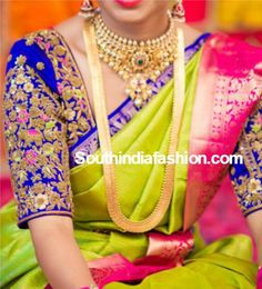 Elbow length sleeves heavy maggam embroidered blouse for wedding silk sarees.