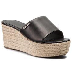 Espadrile GUESS - Lenore FLLEN2 LEA19 BLACK Pool Slides, Espadrilles, Sandals, Shoes, Black, Fashion, Espadrilles Outfit, Moda, Shoes Sandals