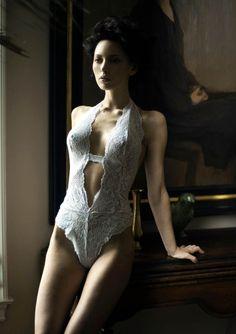 low plunge white lace bodysuit
