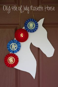 DIY July 4th wreath using old horse show ribbons