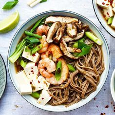 Miso And Soba Noodle Soup With Shrimp, Tofu And Shitake Mushrooms via @feedfeed on https://thefeedfeed.com/feel-better/the_cashewtree/miso-and-soba-noodle-soup-with-shrimp-tofu-and-shitake-mushrooms
